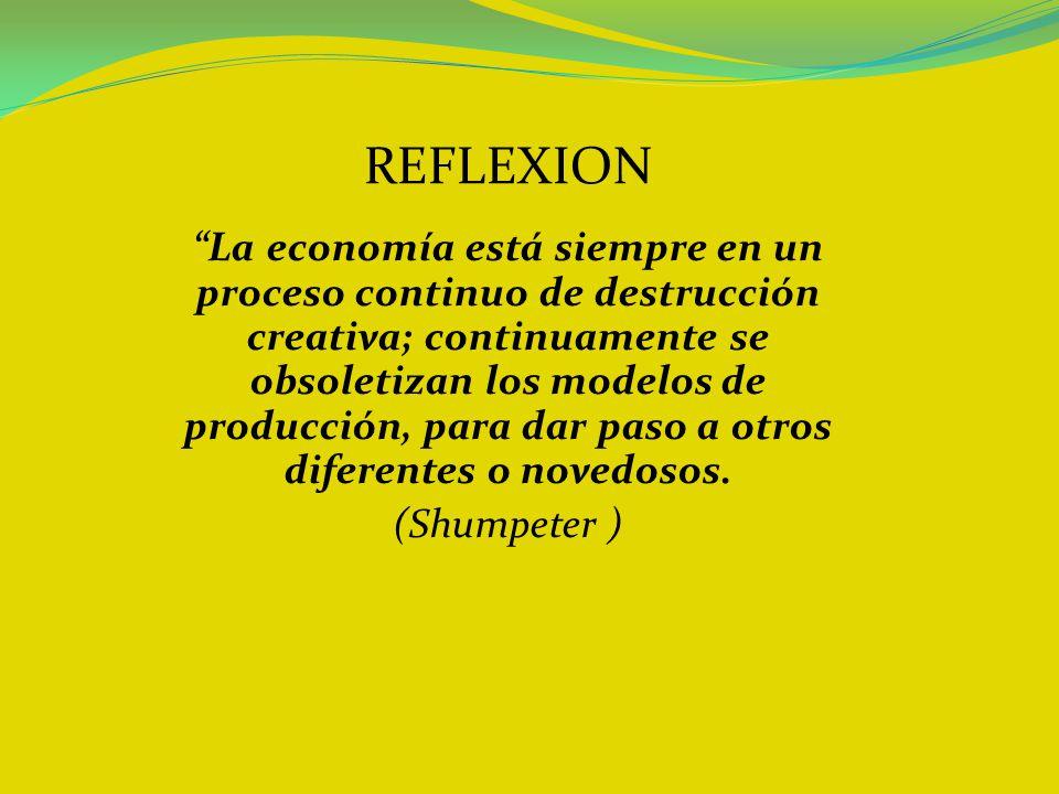 REFLEXION La economía está siempre en un proceso continuo de destrucción creativa; continuamente se obsoletizan los modelos de producción, para dar pa