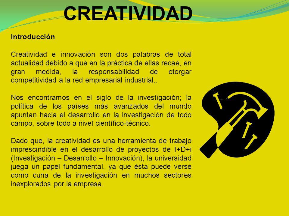 CREATIVIDAD Introducción Creatividad e innovación son dos palabras de total actualidad debido a que en la práctica de ellas recae, en gran medida, la