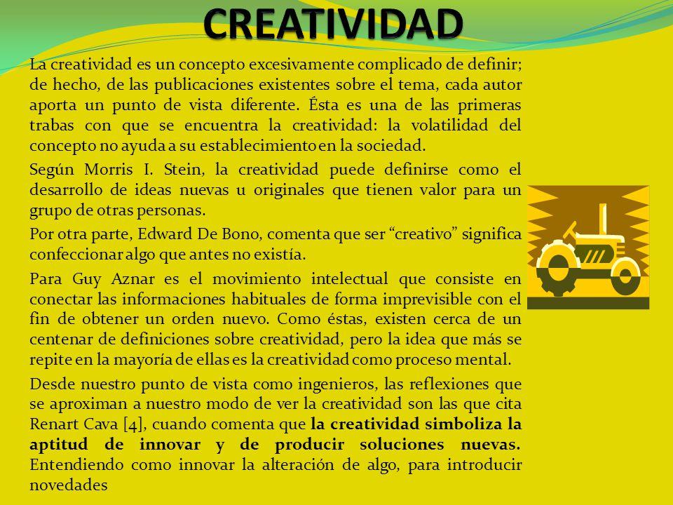 La creatividad es un concepto excesivamente complicado de definir; de hecho, de las publicaciones existentes sobre el tema, cada autor aporta un punto