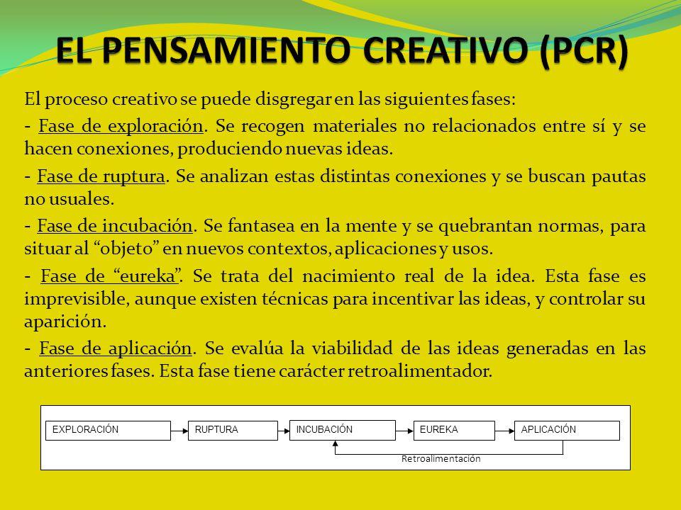 El proceso creativo se puede disgregar en las siguientes fases: - Fase de exploración. Se recogen materiales no relacionados entre sí y se hacen conex