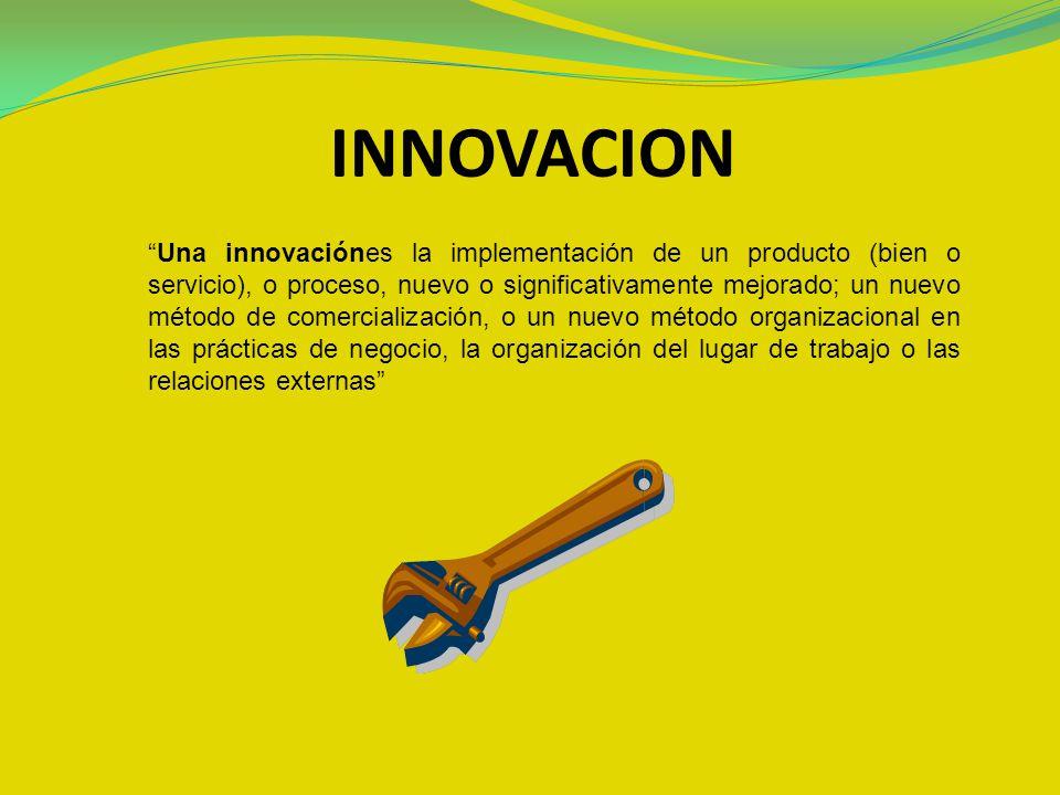 INNOVACION Una innovaciónes la implementación de un producto (bien o servicio), o proceso, nuevo o significativamente mejorado; un nuevo método de com