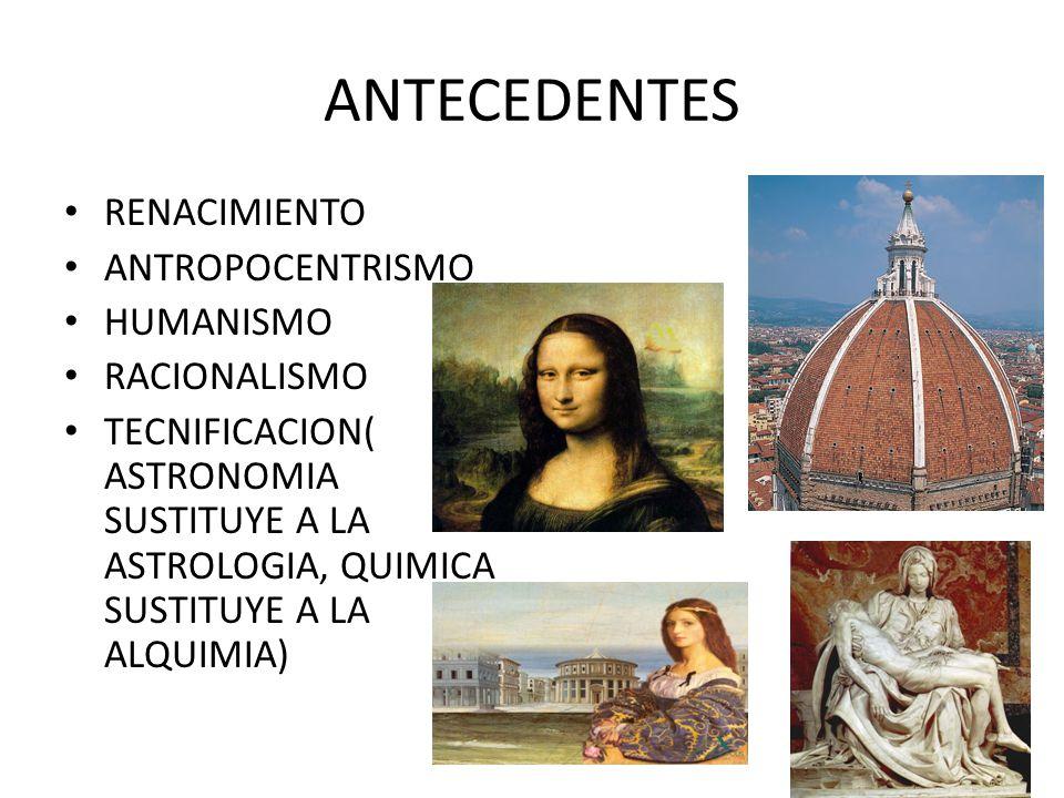 ANTECEDENTES RENACIMIENTO ANTROPOCENTRISMO HUMANISMO RACIONALISMO TECNIFICACION( ASTRONOMIA SUSTITUYE A LA ASTROLOGIA, QUIMICA SUSTITUYE A LA ALQUIMIA)