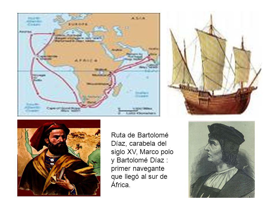 Ruta de Bartolomé Díaz, carabela del siglo XV, Marco polo y Bartolomé Díaz : primer navegante que llegó al sur de África.