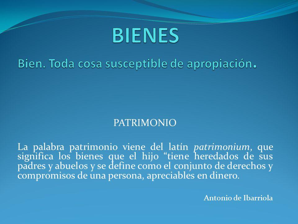 PATRIMONIO La palabra patrimonio viene del latín patrimonium, que significa los bienes que el hijo tiene heredados de sus padres y abuelos y se define como el conjunto de derechos y compromisos de una persona, apreciables en dinero.