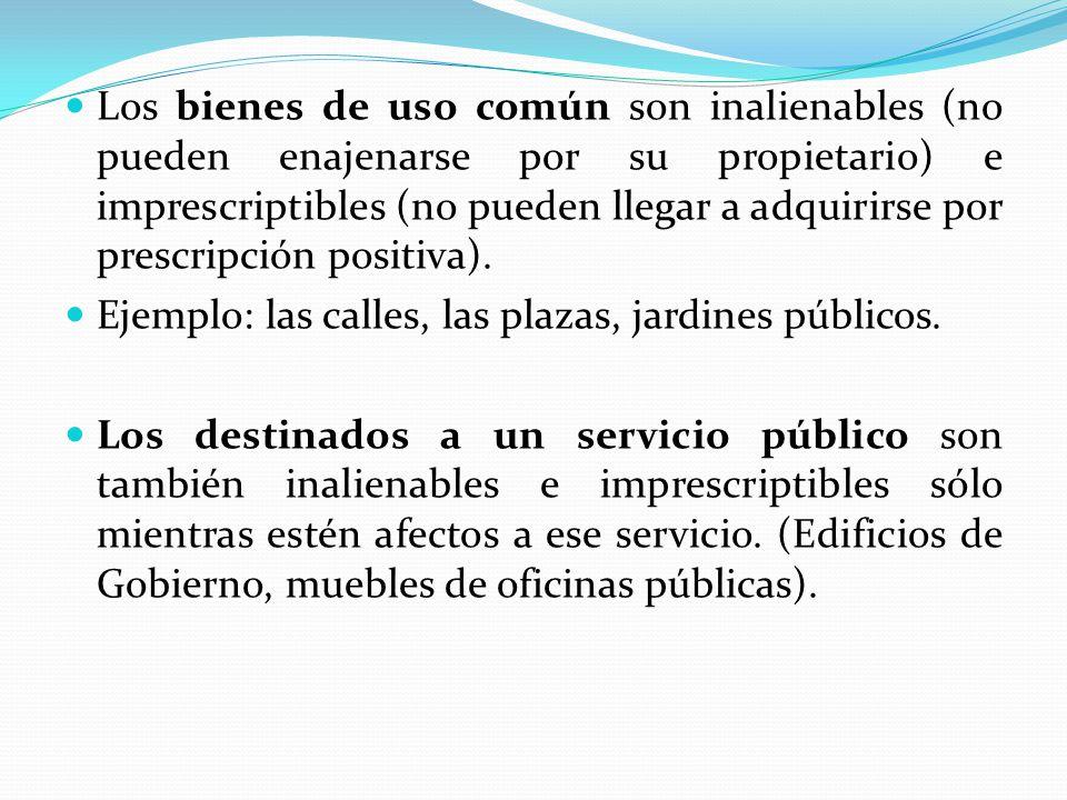 Los bienes de uso común son inalienables (no pueden enajenarse por su propietario) e imprescriptibles (no pueden llegar a adquirirse por prescripción positiva).