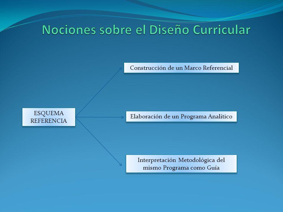 ESQUEMA REFERENCIA Construcción de un Marco Referencial Elaboración de un Programa Analítico Interpretación Metodológica del mismo Programa como Guía