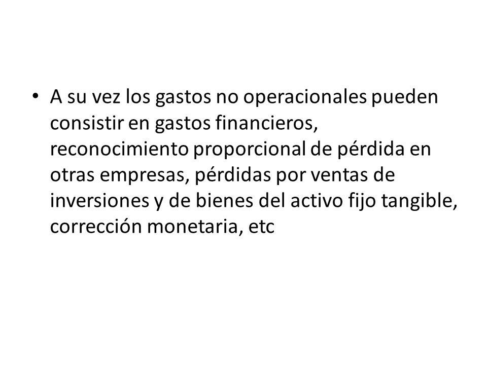 A su vez los gastos no operacionales pueden consistir en gastos financieros, reconocimiento proporcional de pérdida en otras empresas, pérdidas por ve