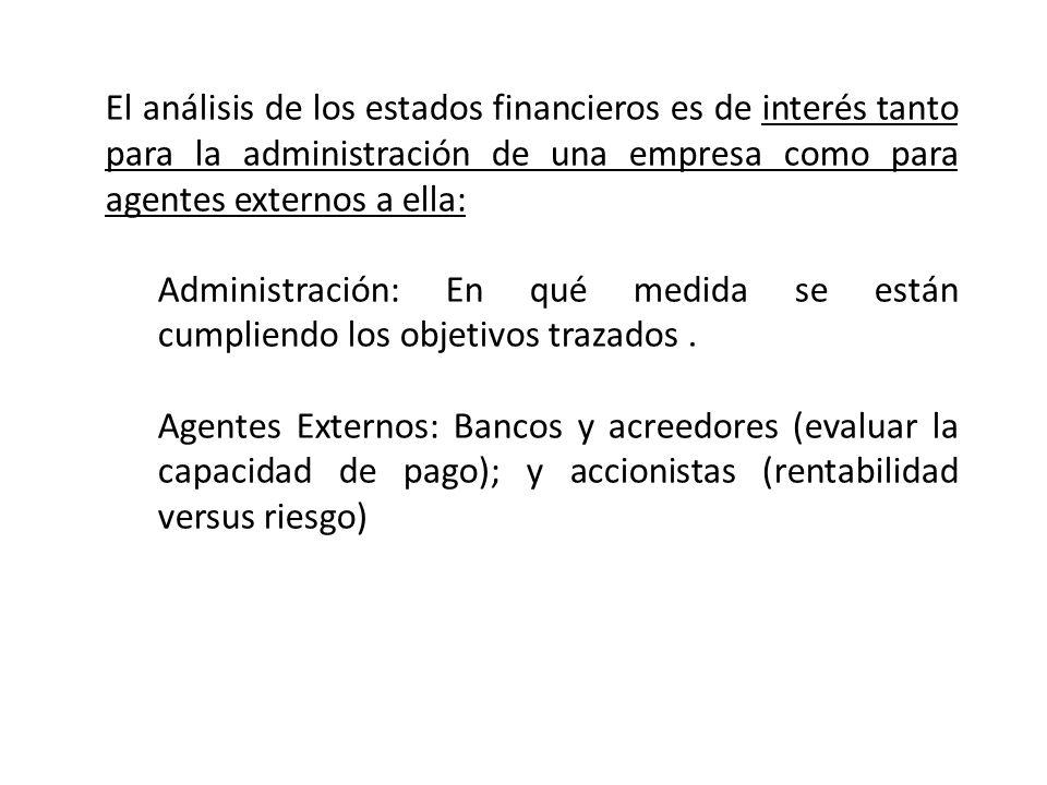 El análisis de los estados financieros es de interés tanto para la administración de una empresa como para agentes externos a ella: Administración: En