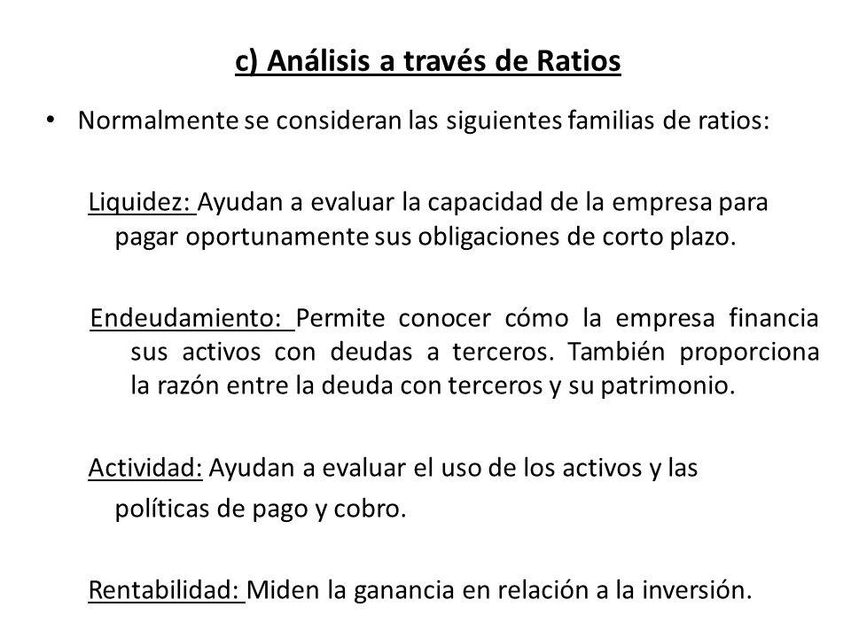 Normalmente se consideran las siguientes familias de ratios: Liquidez: Ayudan a evaluar la capacidad de la empresa para pagar oportunamente sus obliga