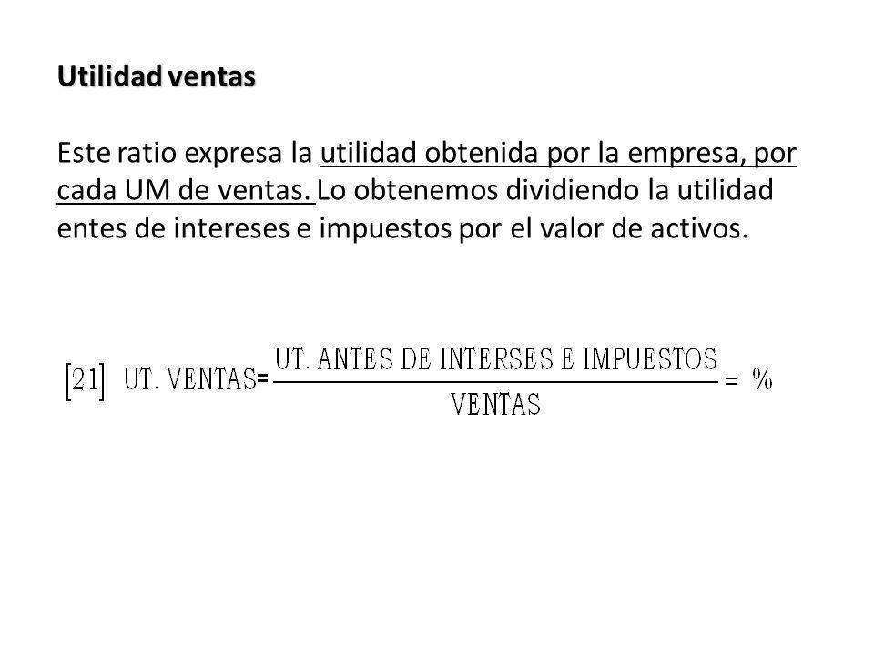 Utilidad ventas Este ratio expresa la utilidad obtenida por la empresa, por cada UM de ventas. Lo obtenemos dividiendo la utilidad entes de intereses