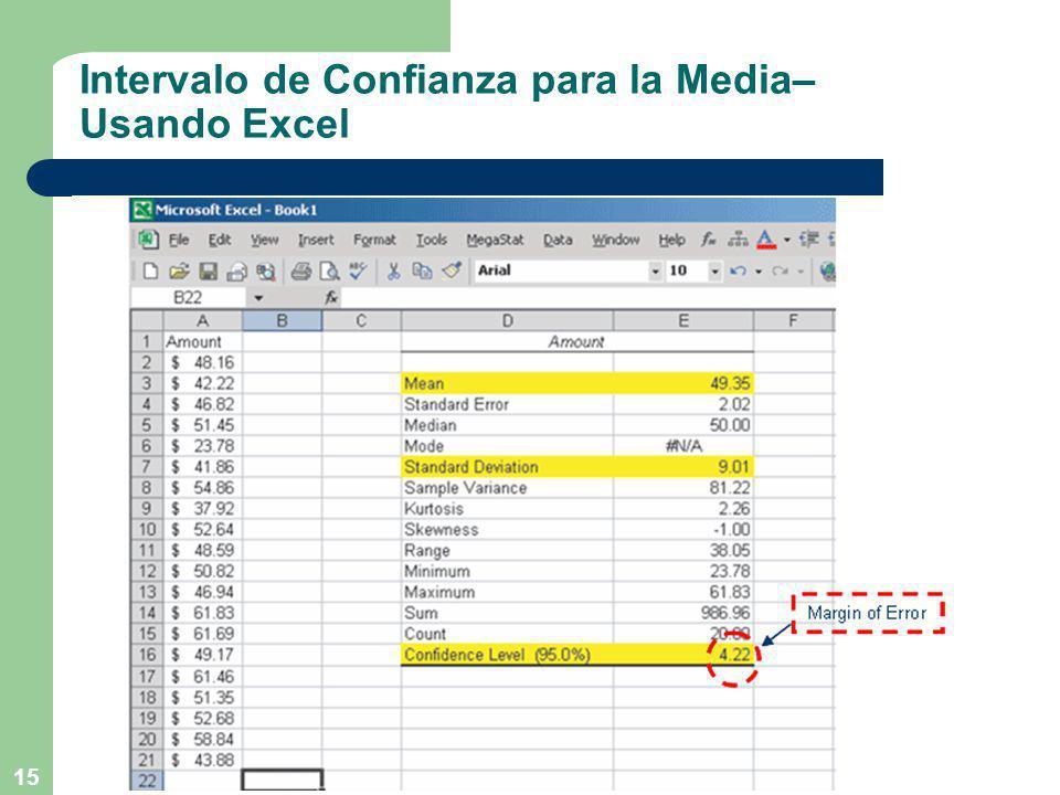 15 Intervalo de Confianza para la Media– Usando Excel