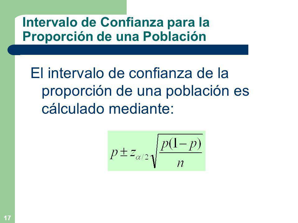 17 Intervalo de Confianza para la Proporción de una Población El intervalo de confianza de la proporción de una población es cálculado mediante: