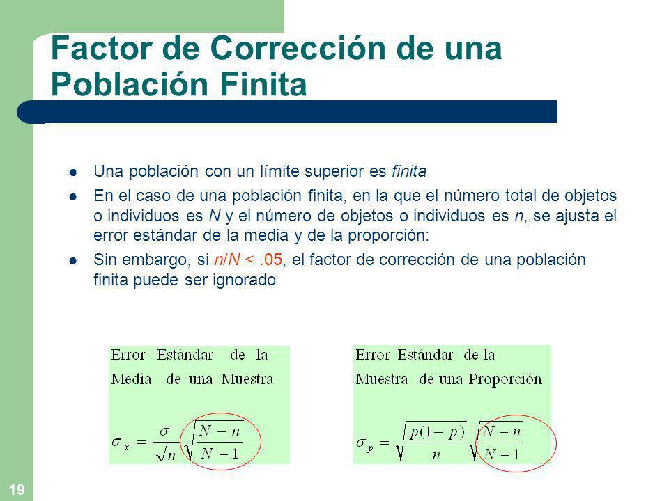 19 Factor de Corrección de una Población Finita Una población con un límite superior es finita En el caso de una población finita, en la que el número total de objetos o individuos es N y el número de objetos o individuos es n, se ajusta el error estándar de la media y de la proporción: Sin embargo, si n/N <.05, el factor de corrección de una población finita puede ser ignorado