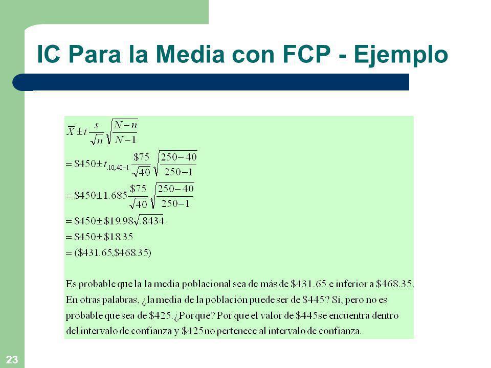 23 IC Para la Media con FCP - Ejemplo