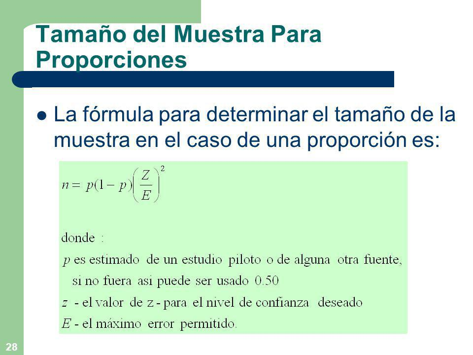 28 Tamaño del Muestra Para Proporciones La fórmula para determinar el tamaño de la muestra en el caso de una proporción es:
