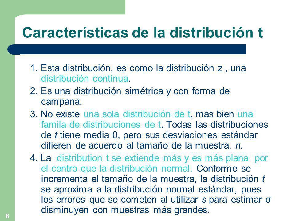 6 Características de la distribución t 1.