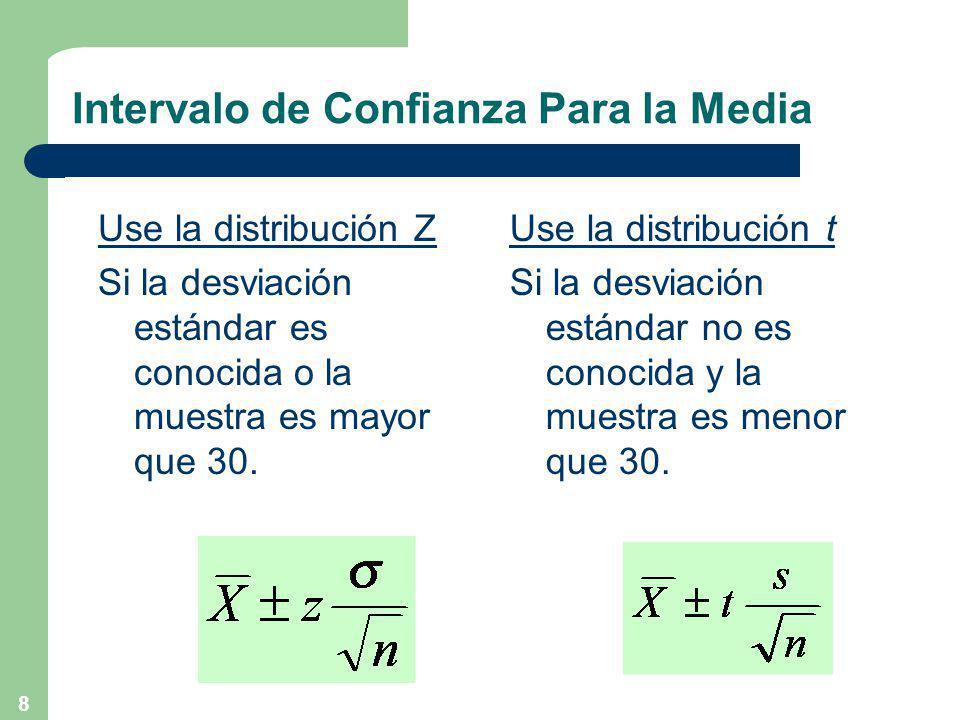 8 Intervalo de Confianza Para la Media Use la distribución Z Si la desviación estándar es conocida o la muestra es mayor que 30.