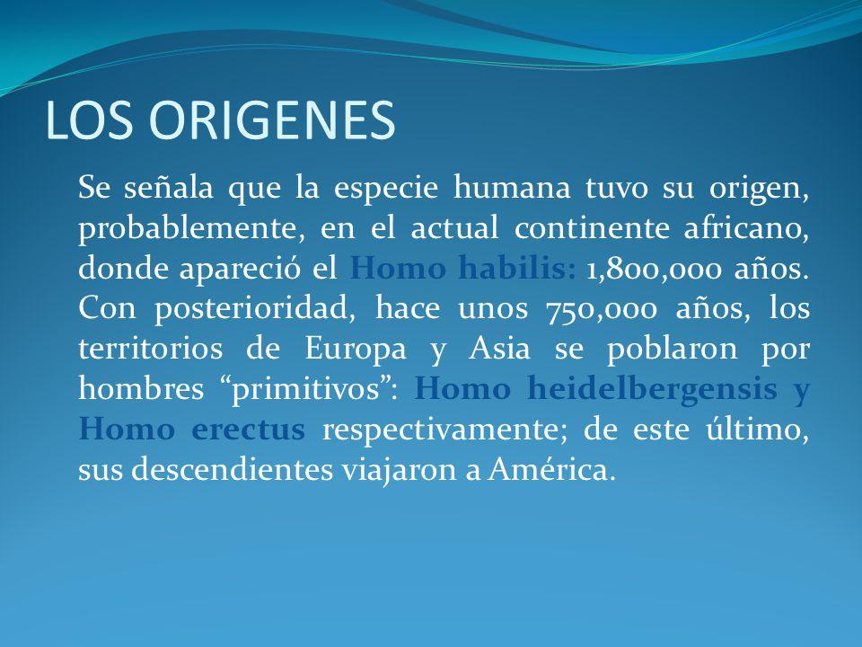 LOS ORIGENES Se señala que la especie humana tuvo su origen, probablemente, en el actual continente africano, donde apareció el Homo habilis: 1,800,000 años.