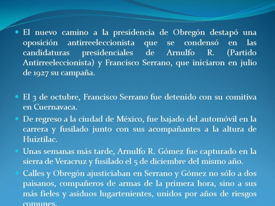El nuevo camino a la presidencia de Obregón destapó una oposición antirreeleccionista que se condensó en las candidaturas presidenciales de Arnulfo R.