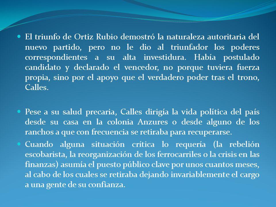 El triunfo de Ortiz Rubio demostró la naturaleza autoritaria del nuevo partido, pero no le dio al triunfador los poderes correspondientes a su alta investidura.