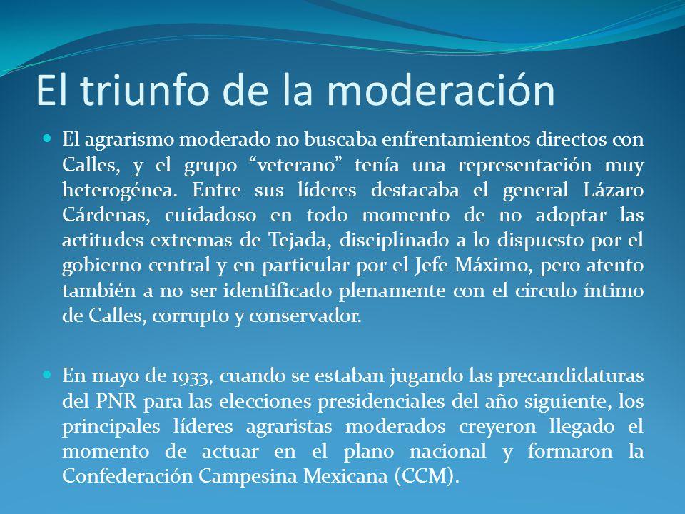 El triunfo de la moderación El agrarismo moderado no buscaba enfrentamientos directos con Calles, y el grupo veterano tenía una representación muy heterogénea.
