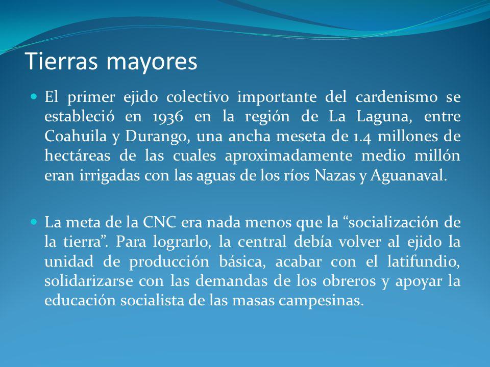 Tierras mayores El primer ejido colectivo importante del cardenismo se estableció en 1936 en la región de La Laguna, entre Coahuila y Durango, una ancha meseta de 1.4 millones de hectáreas de las cuales aproximadamente medio millón eran irrigadas con las aguas de los ríos Nazas y Aguanaval.