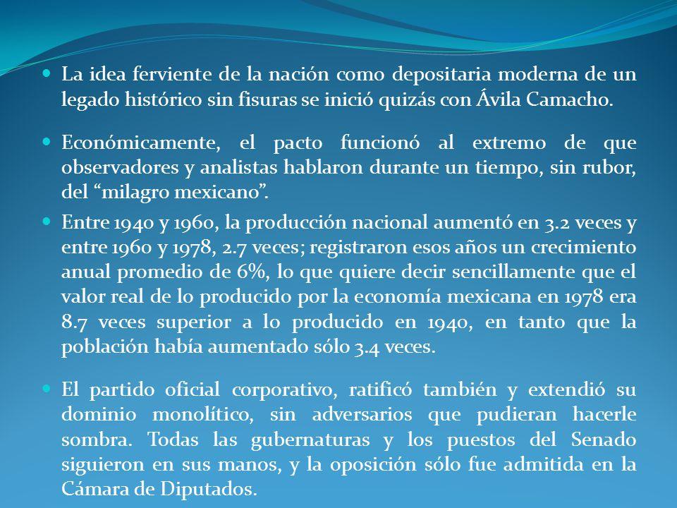 La idea ferviente de la nación como depositaria moderna de un legado histórico sin fisuras se inició quizás con Ávila Camacho.