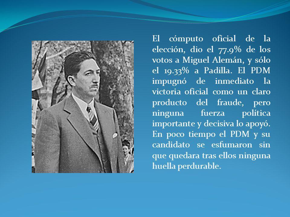 El cómputo oficial de la elección, dio el 77.9% de los votos a Miguel Alemán, y sólo el 19.33% a Padilla.