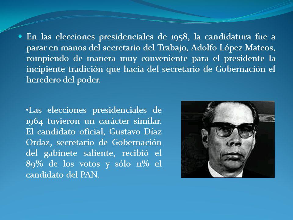En las elecciones presidenciales de 1958, la candidatura fue a parar en manos del secretario del Trabajo, Adolfo López Mateos, rompiendo de manera muy conveniente para el presidente la incipiente tradición que hacía del secretario de Gobernación el heredero del poder.