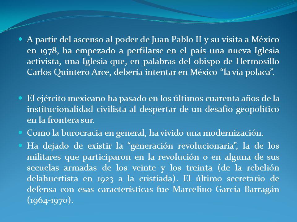 A partir del ascenso al poder de Juan Pablo II y su visita a México en 1978, ha empezado a perfilarse en el país una nueva Iglesia activista, una Iglesia que, en palabras del obispo de Hermosillo Carlos Quintero Arce, debería intentar en México la vía polaca.