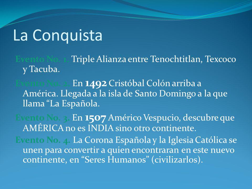 La Conquista Evento No.1. Triple Alianza entre Tenochtitlan, Texcoco y Tacuba.