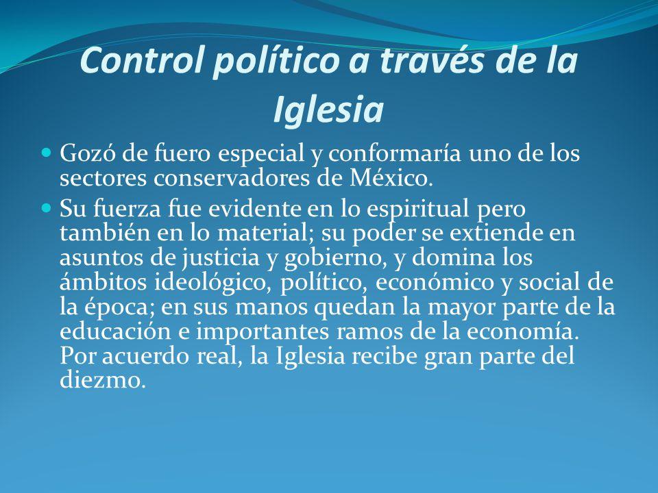 Control político a través de la Iglesia Gozó de fuero especial y conformaría uno de los sectores conservadores de México.
