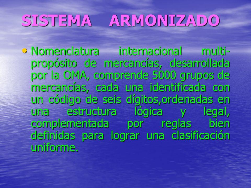 SISTEMA ARMONIZADO Nomenclatura internacional multi- propósito de mercancías, desarrollada por la OMA, comprende 5000 grupos de mercancías, cada una i