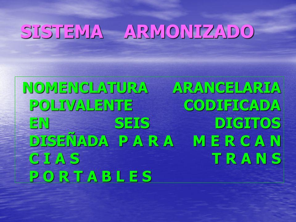 SISTEMA ARMONIZADO NOMENCLATURA ARANCELARIA POLIVALENTE CODIFICADA EN SEIS DIGITOS DISEÑADA P A R A M E R C A N C I A S T R A N S P O R T A B L E S NO
