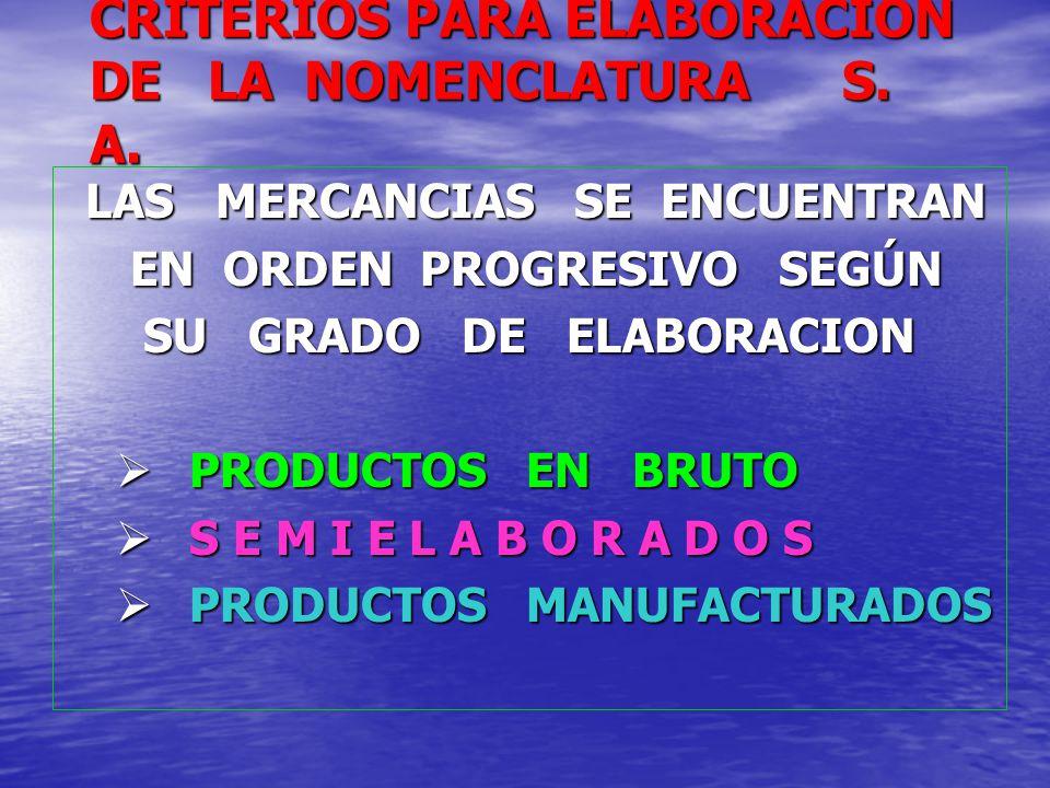 CRITERIOS PARA ELABORACION DE LA NOMENCLATURA S. A. LAS MERCANCIAS SE ENCUENTRAN LAS MERCANCIAS SE ENCUENTRAN EN ORDEN PROGRESIVO SEGÚN EN ORDEN PROGR
