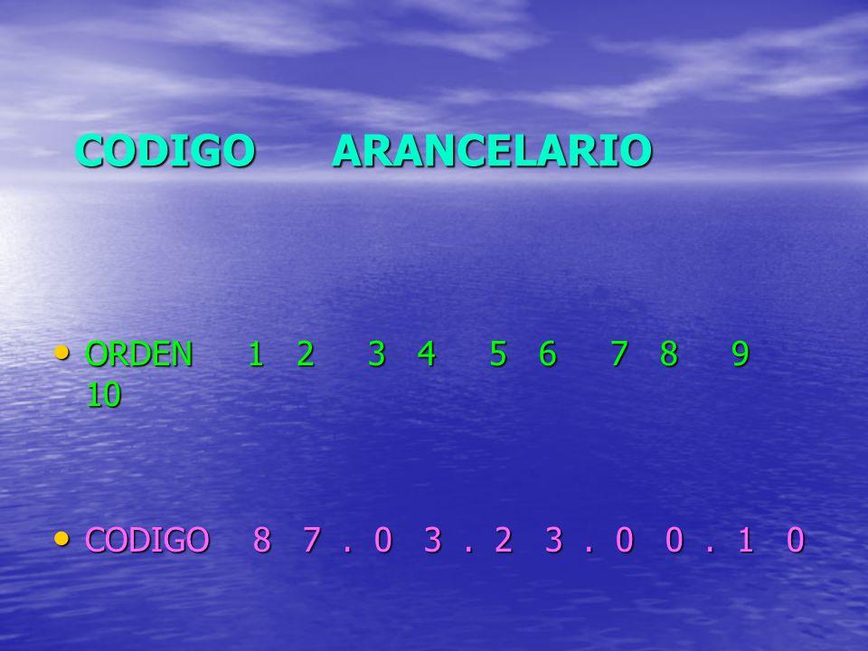 CODIGO ARANCELARIO ORDEN 1 2 3 4 5 6 7 8 9 10 ORDEN 1 2 3 4 5 6 7 8 9 10 CODIGO 8 7. 0 3. 2 3. 0 0. 1 0 CODIGO 8 7. 0 3. 2 3. 0 0. 1 0