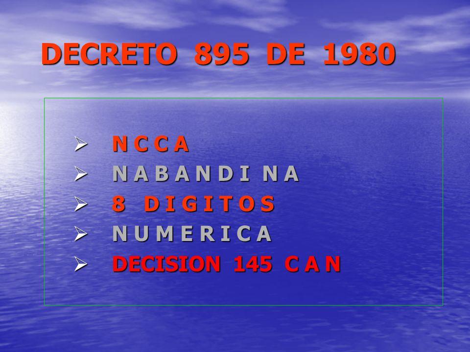 DECRETO 895 DE 1980 N C C A N C C A N A B A N D I N A N A B A N D I N A 8 D I G I T O S 8 D I G I T O S N U M E R I C A N U M E R I C A DECISION 145 C
