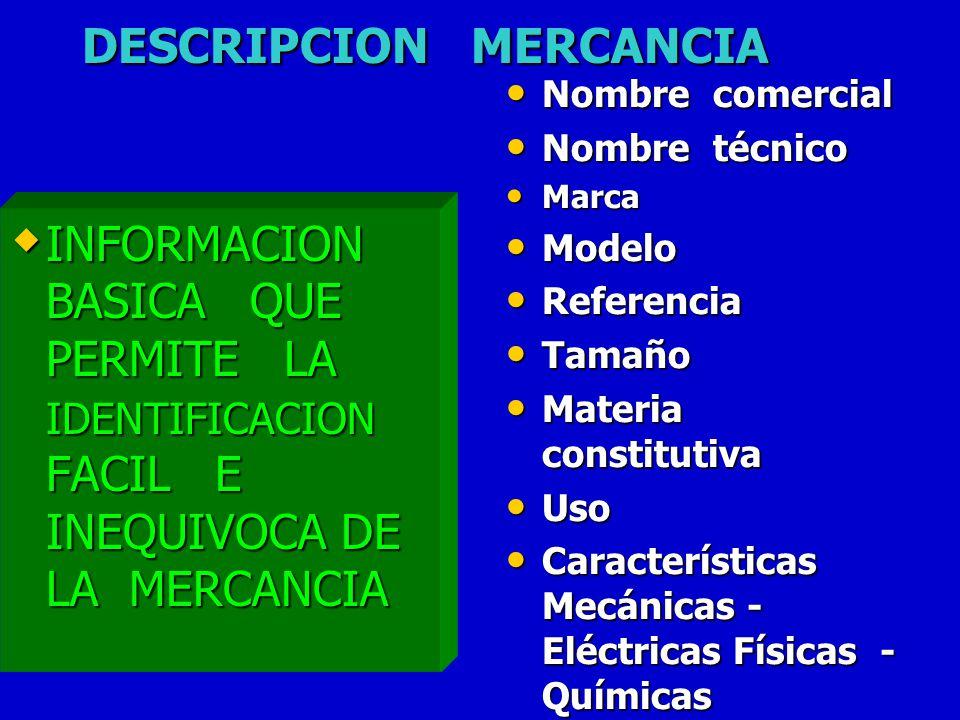 DESCRIPCION MERCANCIA INFORMACION BASICA QUE PERMITE LA IDENTIFICACION FACIL E INEQUIVOCA DE LA MERCANCIA INFORMACION BASICA QUE PERMITE LA IDENTIFICA
