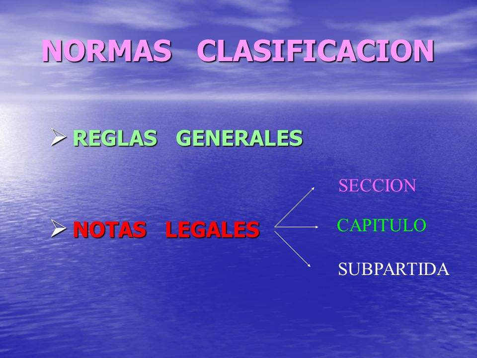 NORMAS CLASIFICACION REGLAS GENERALES REGLAS GENERALES NOTAS LEGALES NOTAS LEGALES SECCION CAPITULO SUBPARTIDA