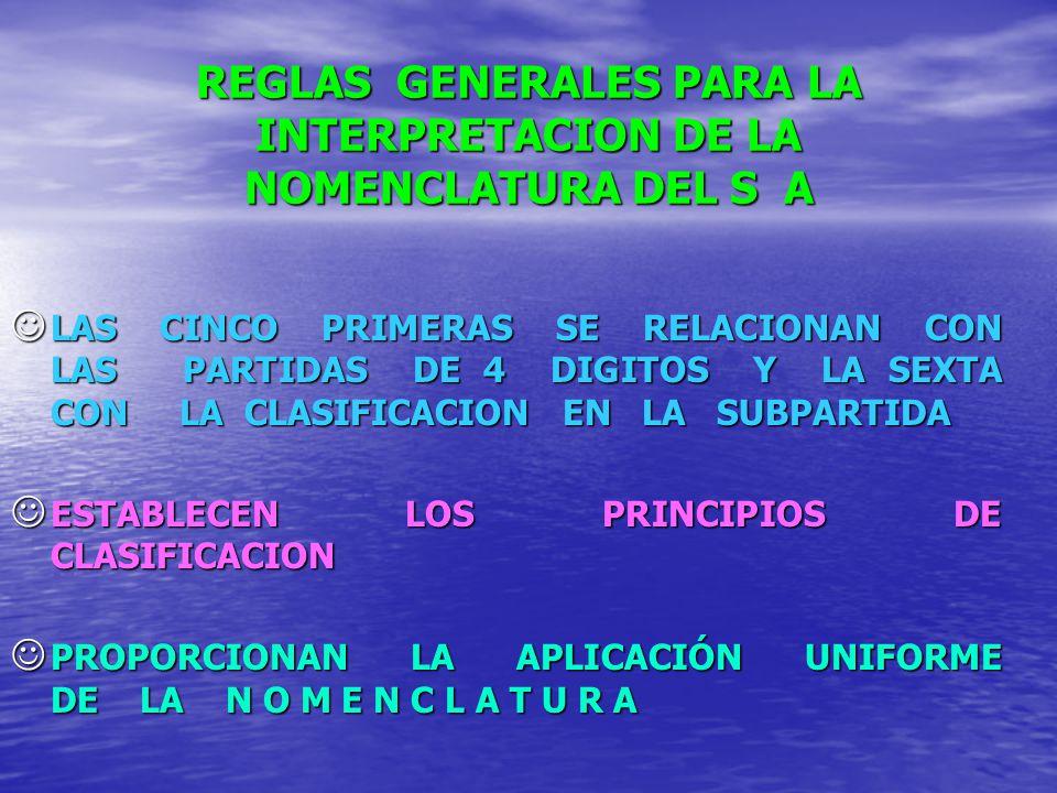 REGLAS GENERALES PARA LA INTERPRETACION DE LA NOMENCLATURA DEL S A LAS CINCO PRIMERAS SE RELACIONAN CON LAS PARTIDAS DE 4 DIGITOS Y LA SEXTA CON LA CL