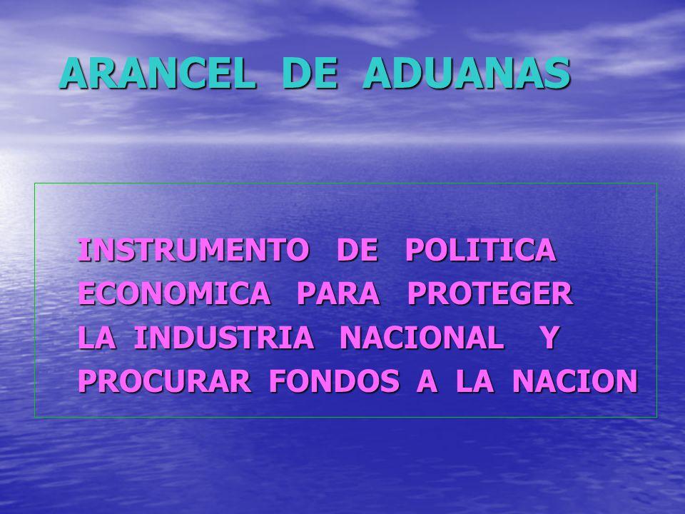 ARANCEL DE ADUANAS INSTRUMENTO DE POLITICA INSTRUMENTO DE POLITICA ECONOMICA PARA PROTEGER ECONOMICA PARA PROTEGER LA INDUSTRIA NACIONAL Y LA INDUSTRI