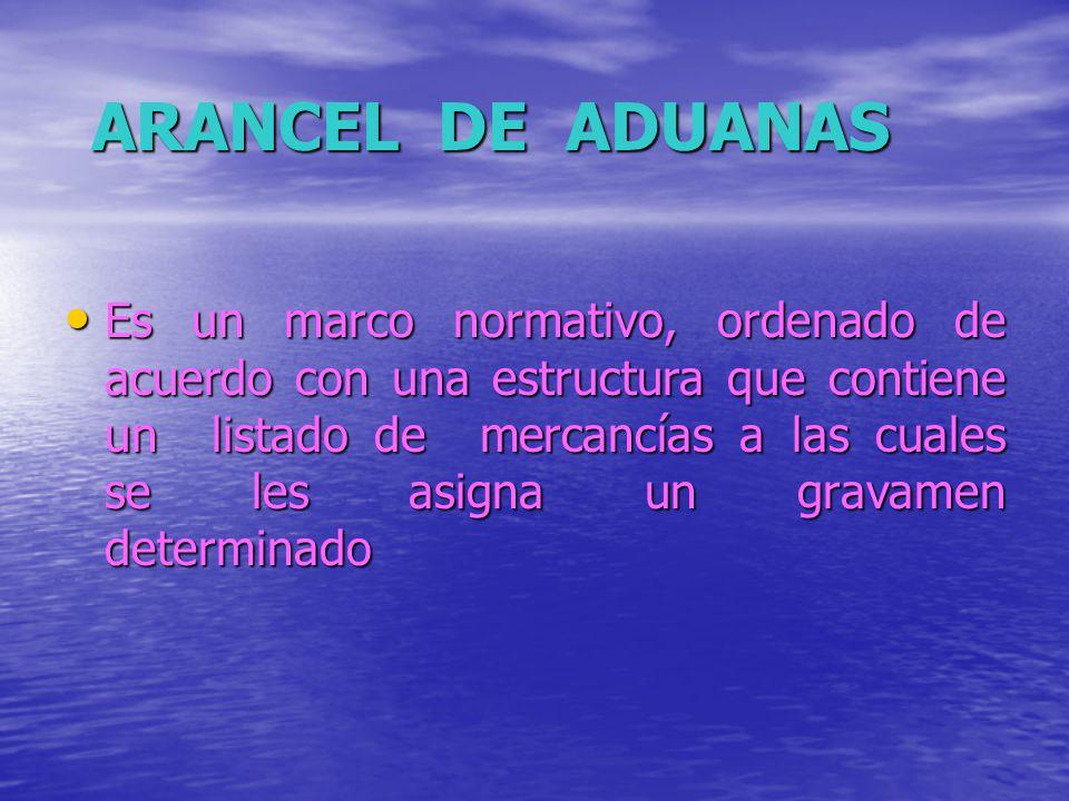 ARANCEL DE ADUANAS Es un marco normativo, ordenado de acuerdo con una estructura que contiene un listado de mercancías a las cuales se les asigna un g