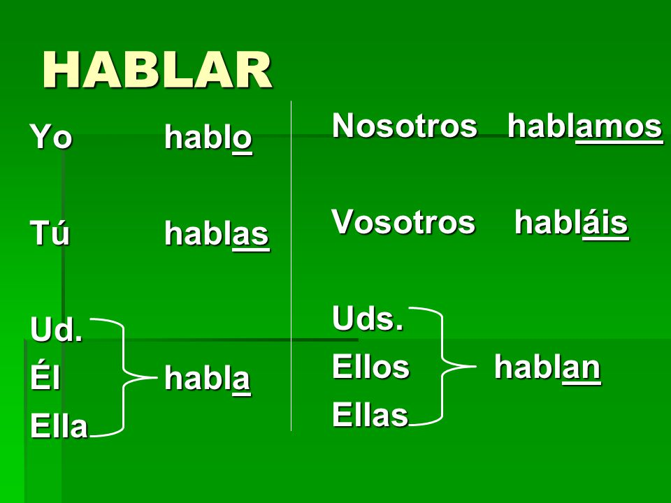 -AR Verbs You know the pattern of present-tense -ar verbs: These are the endings: o, as, a, amos, áis, an For example