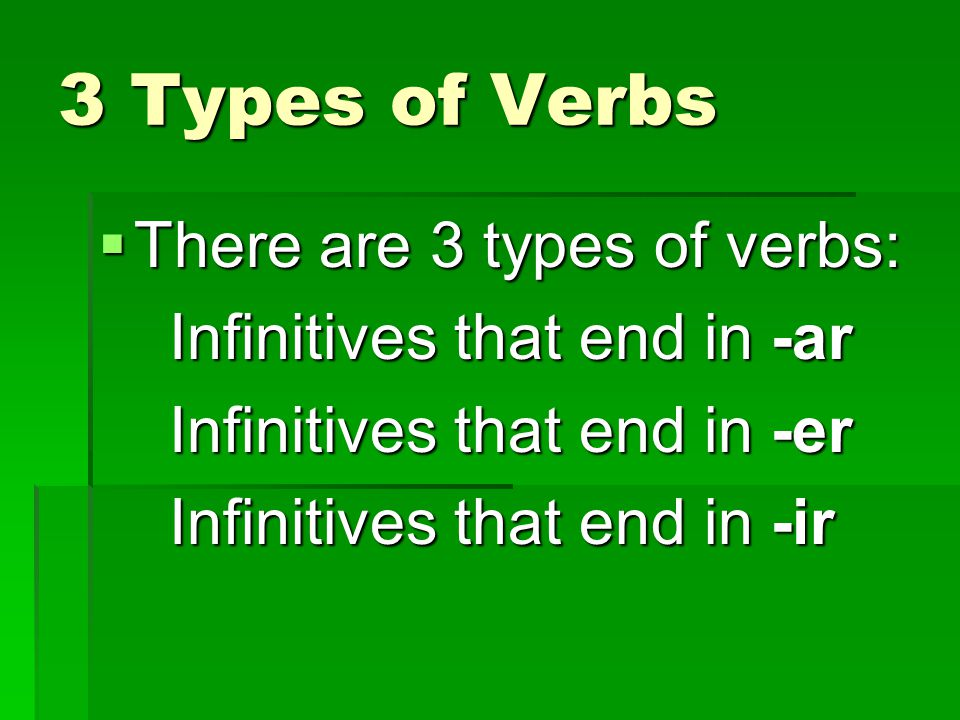 3 Types of Verbs There are 3 types of verbs: There are 3 types of verbs: Infinitives that end in -ar Infinitives that end in -ar Infinitives that end in -er Infinitives that end in -er Infinitives that end in -ir Infinitives that end in -ir