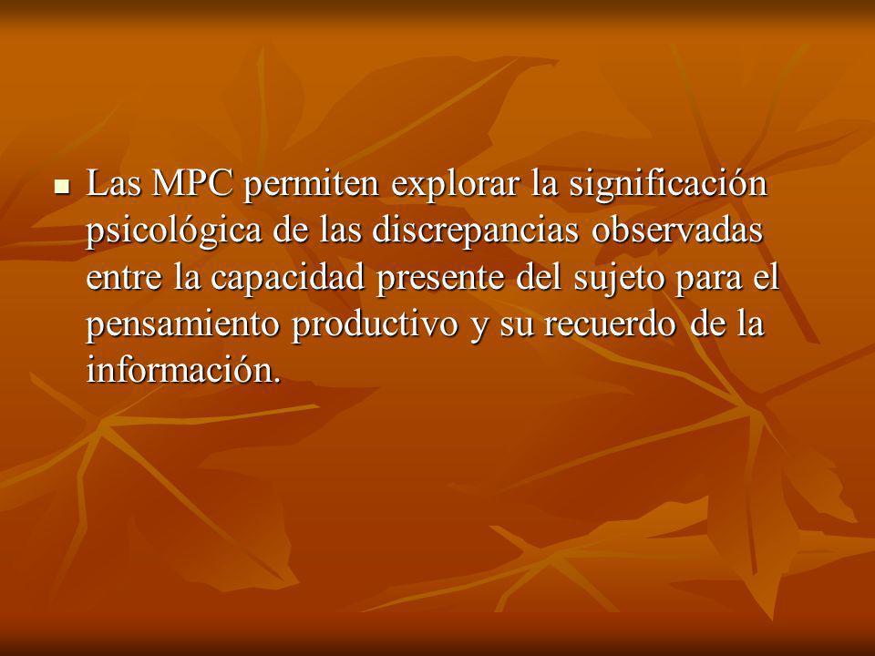 Las 3 series de 12 problemas que constituyen las MPC están destinadas a evaluar los principales procesos cognitivos de los que es comúnmente capaz un niño de menos de 11 años.