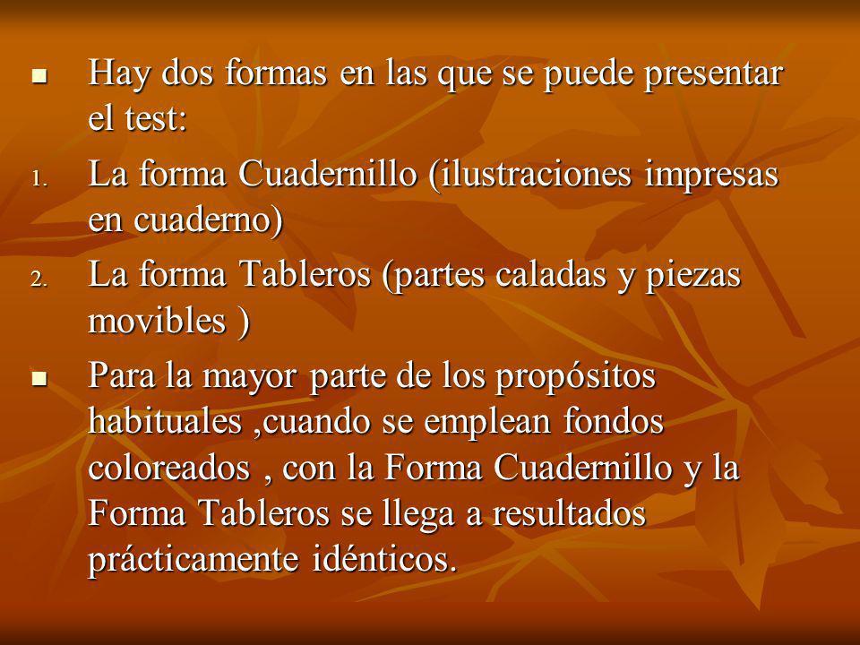 Hay dos formas en las que se puede presentar el test: Hay dos formas en las que se puede presentar el test: 1.