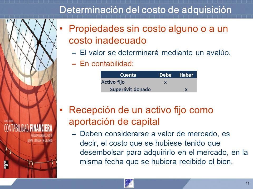 11 Determinación del costo de adquisición Propiedades sin costo alguno o a un costo inadecuado –El valor se determinará mediante un avalúo. –En contab