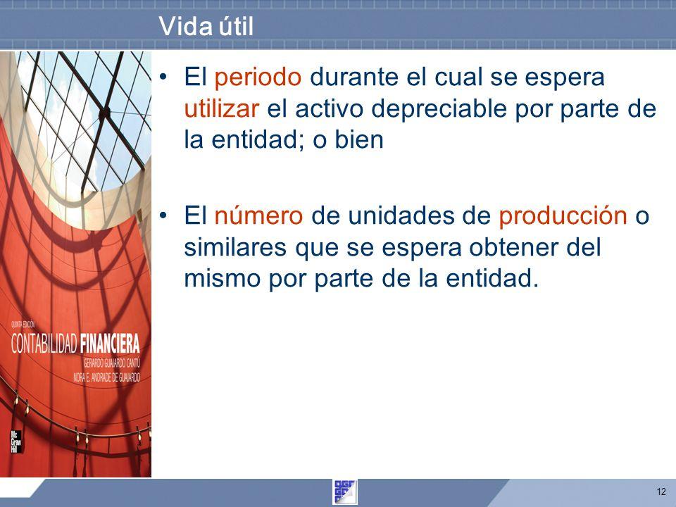 12 Vida útil El periodo durante el cual se espera utilizar el activo depreciable por parte de la entidad; o bien El número de unidades de producción o similares que se espera obtener del mismo por parte de la entidad.