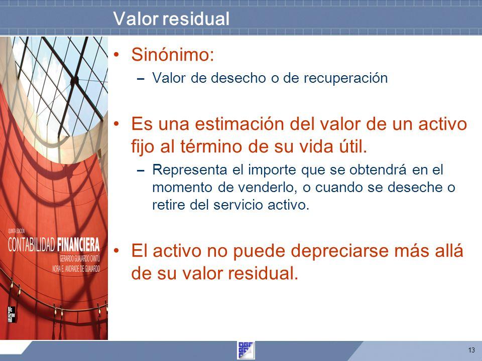 13 Valor residual Sinónimo: –Valor de desecho o de recuperación Es una estimación del valor de un activo fijo al término de su vida útil. –Representa