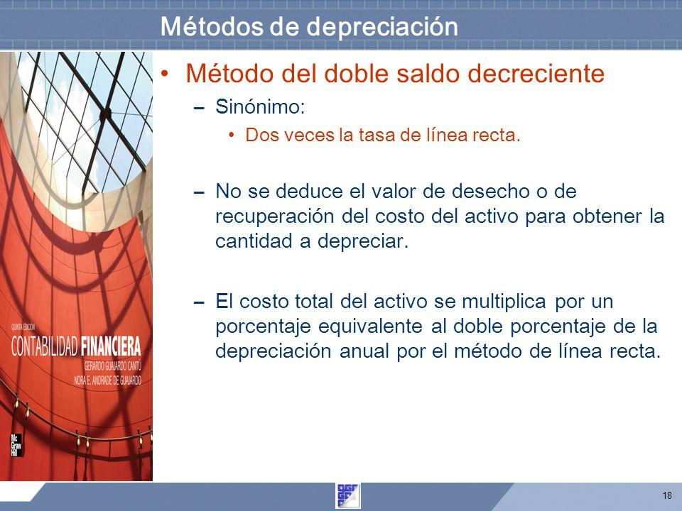 18 Métodos de depreciación Método del doble saldo decreciente –Sinónimo: Dos veces la tasa de línea recta. –No se deduce el valor de desecho o de recu
